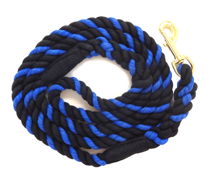 "Handmade Twisted Cotton Rope Dog, Pet Leash Horse Lead (Black, Black & Royal Blue) - ""Thin Blue Line"""