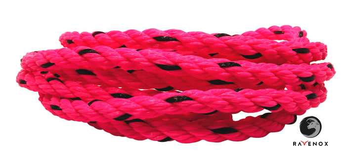 Twisted polypropylen reb (varm pink med sort spor)