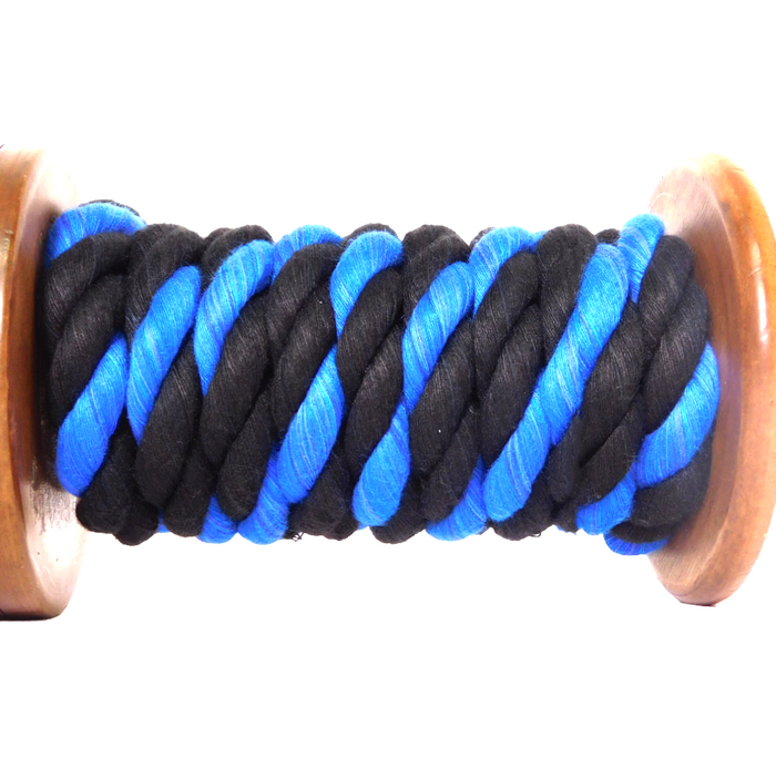 "Twisted Cotton Rope (Black, Black & Royal Blue) - ""Thin Blue Line"""