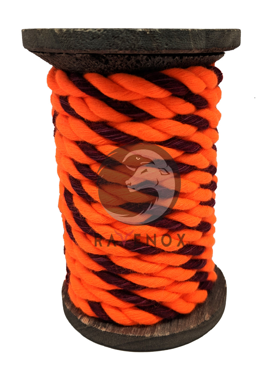 Twisted Cotton Rope (Neon Orange & Burgundy)