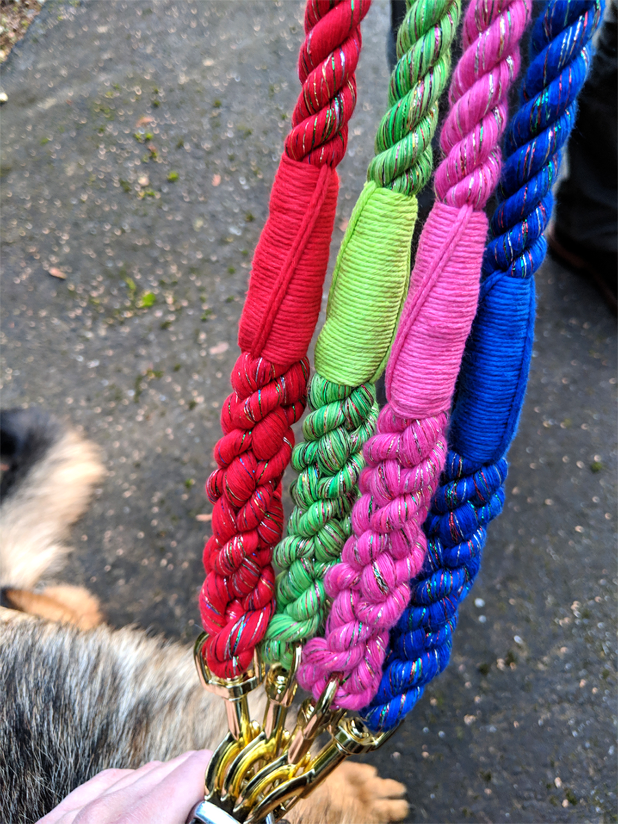 Handmade Twisted Cotton Rope Dog Leash (Red Glitter)