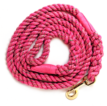 Handmade Twisted Cotton Rope Dog Leash (Hot Pink Glitter)
