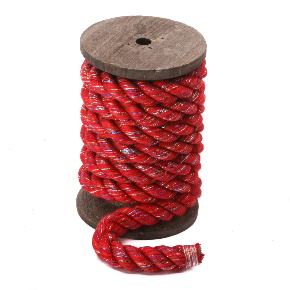 Twisted Cotton Rope (Red Glitter)