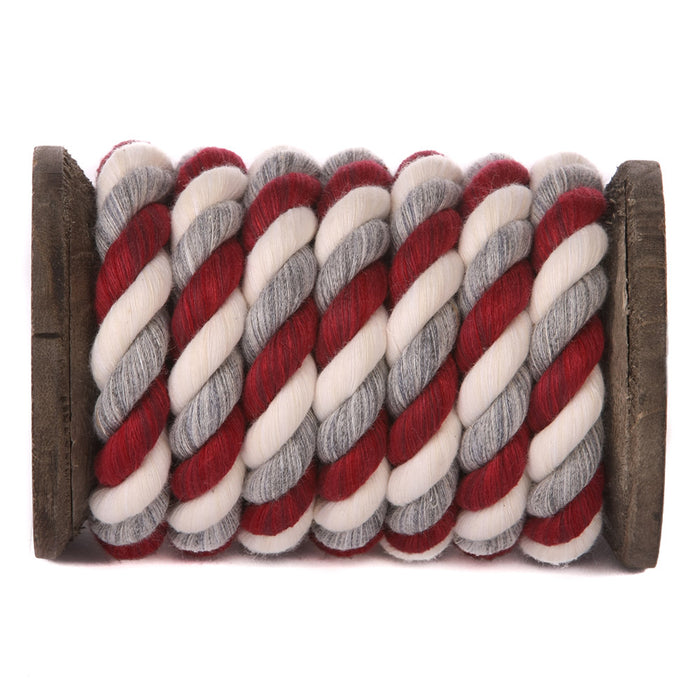 Twisted Cotton Rope (Burgundy, Silver & White)