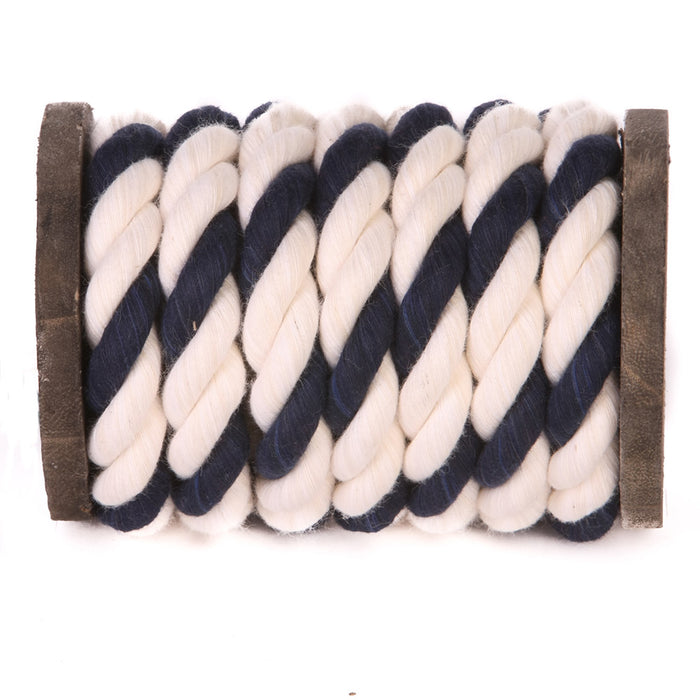 Twisted Cotton Rope (White, White & Navy Blue)