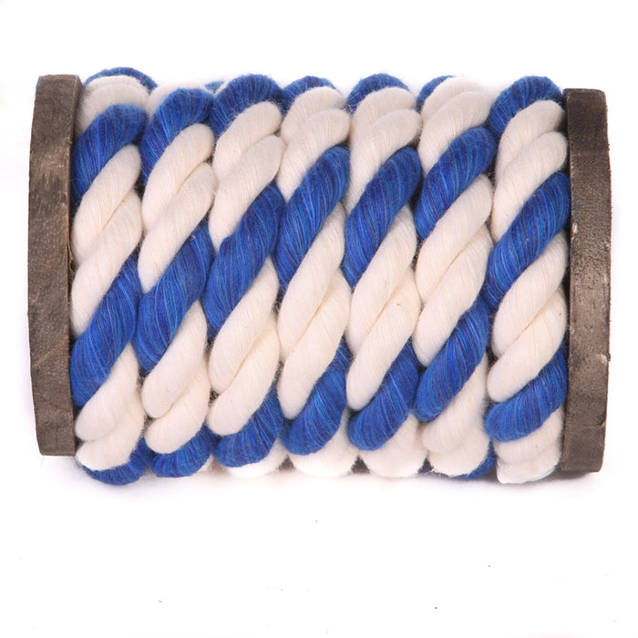 Twisted Cotton Rope (White, White & Royal Blue)