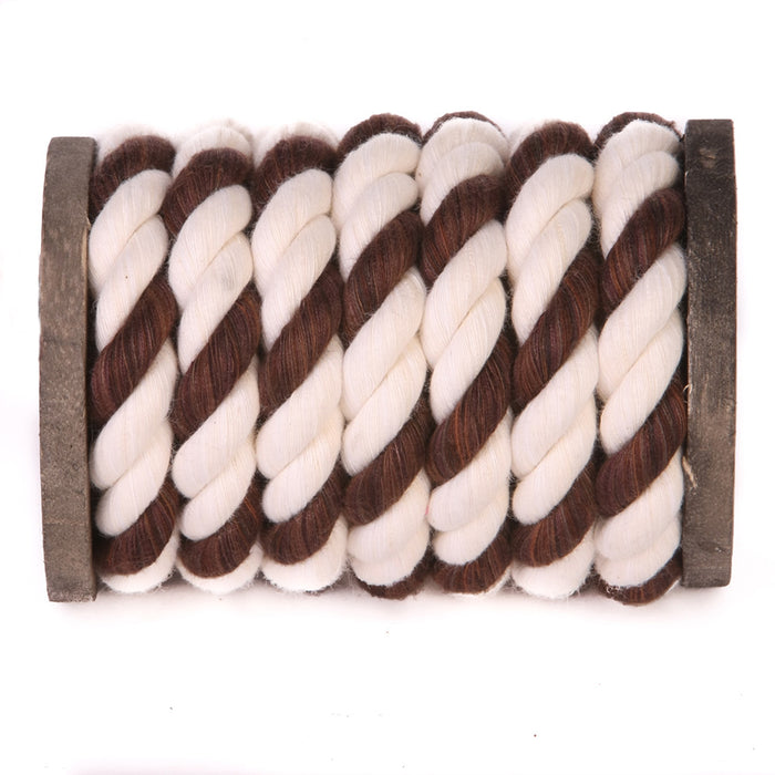 Twisted Cotton Rope (White, White & Brown)