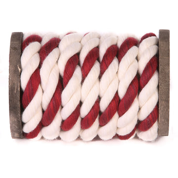 Twisted Cotton Rope (White, White & Burgundy)