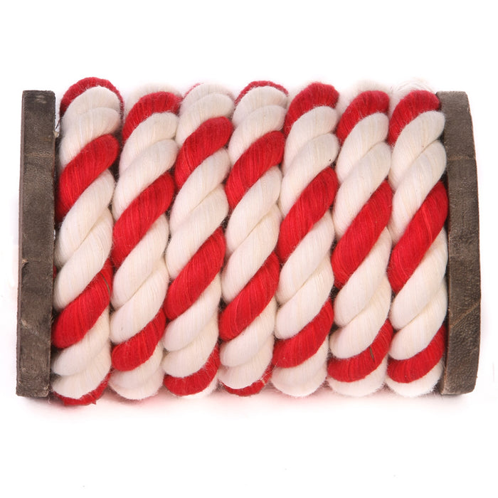 Twisted Cotton Rope (White, White & Red)