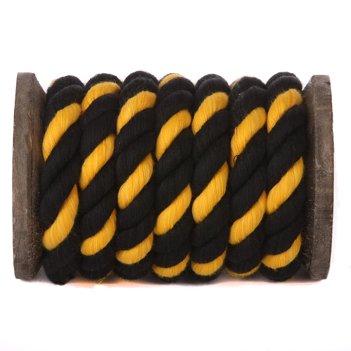 Twisted Cotton Rope (Black, Black & Gold)