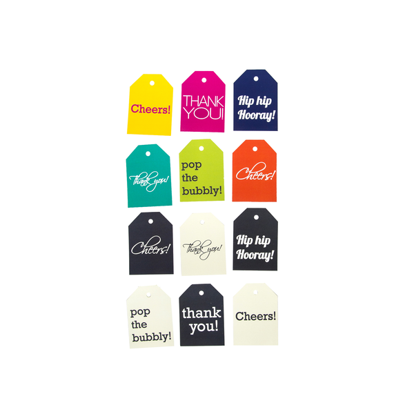 BEST VALUE: Assorted Hang Tags - both Colorful and Cream & Grey collections (Qty 24)