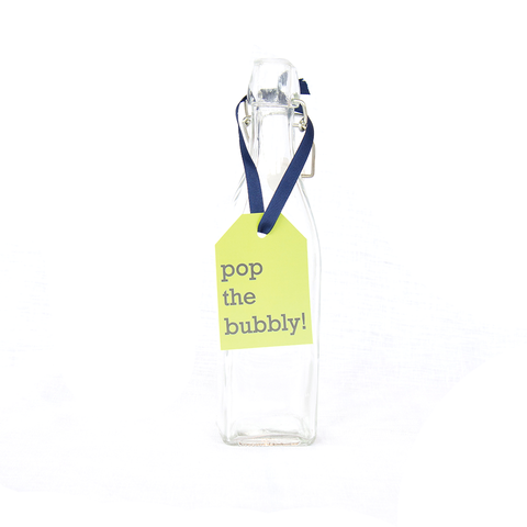 "Hang Tags - Colorful - Lime ""Pop the bubbly!"" (Qty 4)"
