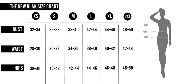 The New Blak Sizing Chart