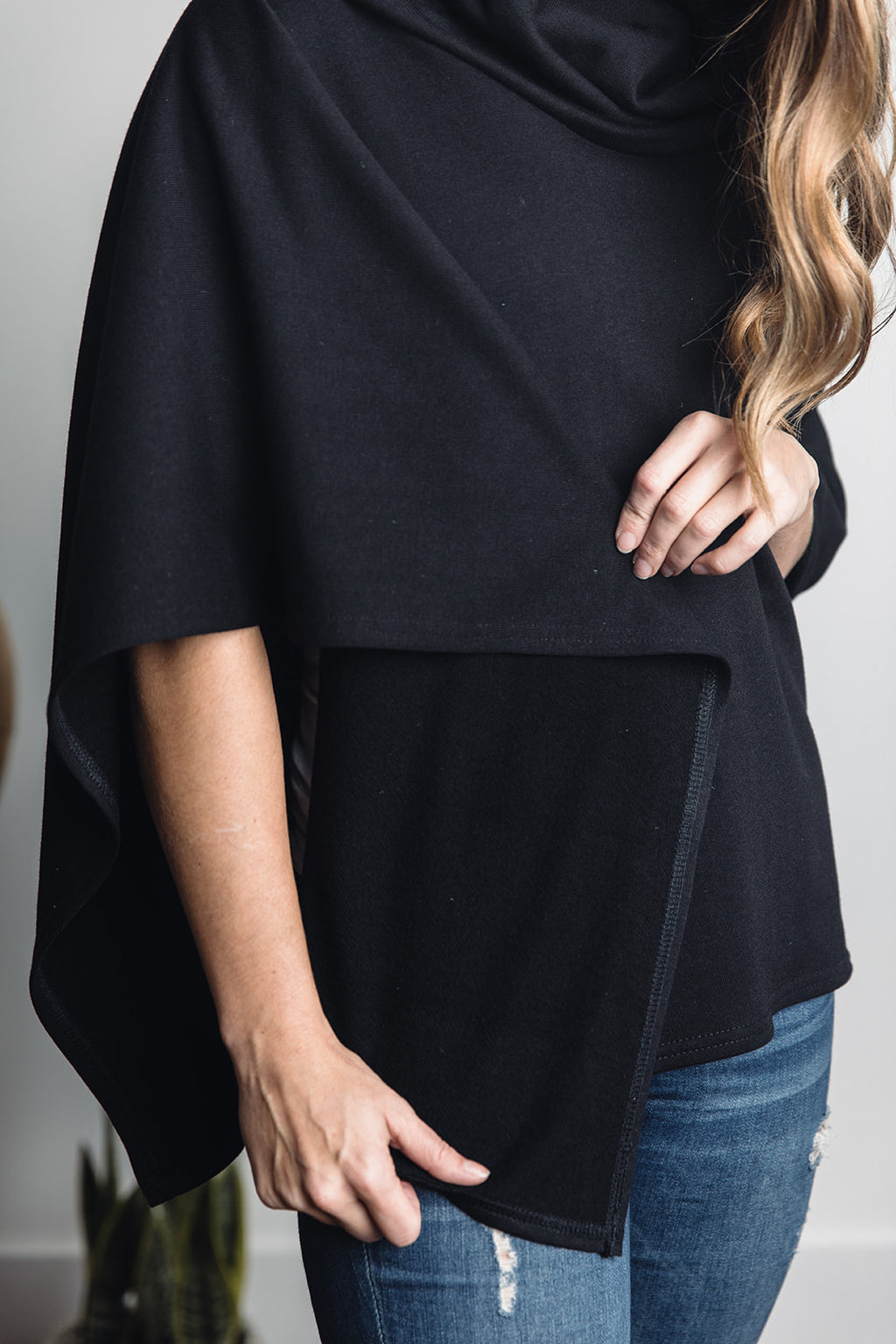 Ruth Poncho -- Black Bamboo Fleece