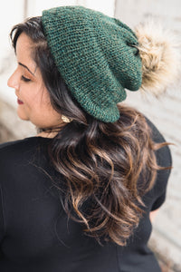 Hand-Knit Hat -- Green