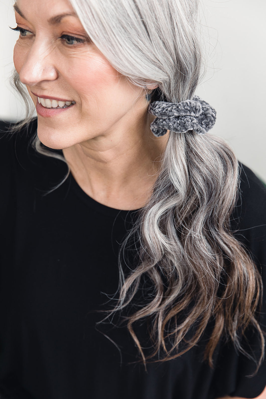 Hand-Knit Scrunchie -- Light Grey