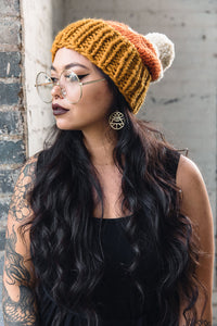 Hand-Knit Hat -- Candy Corn