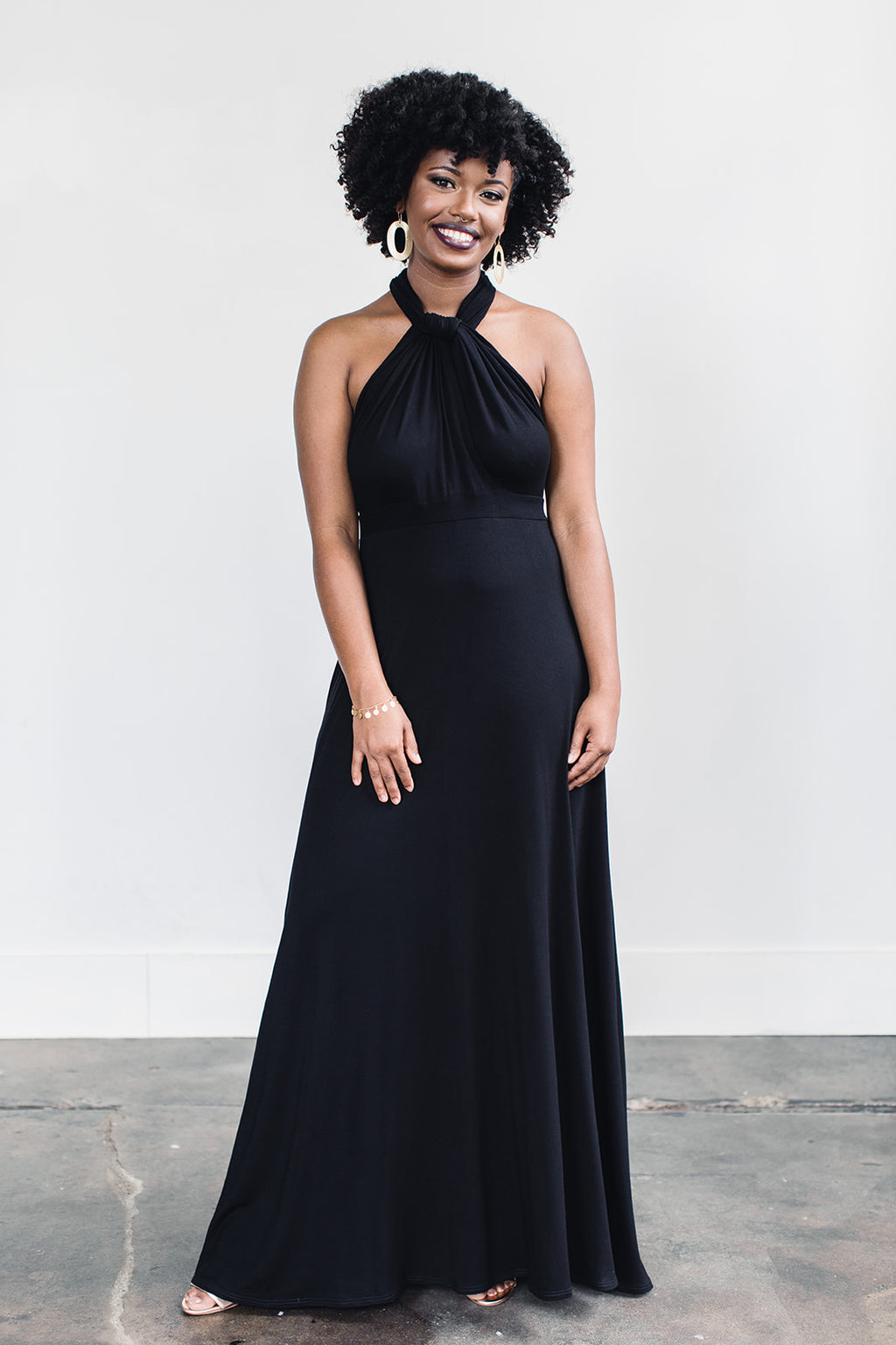 Ethically made black floor length dress