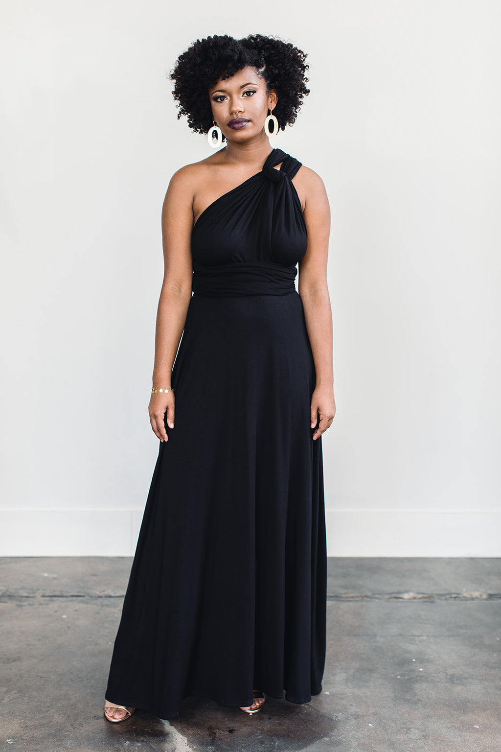 Black, floor length infinity dress