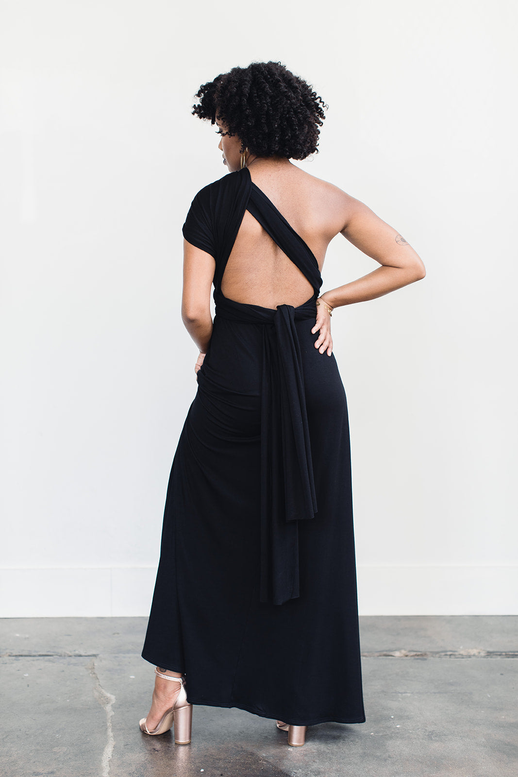 Ecofriendly black floor length dress