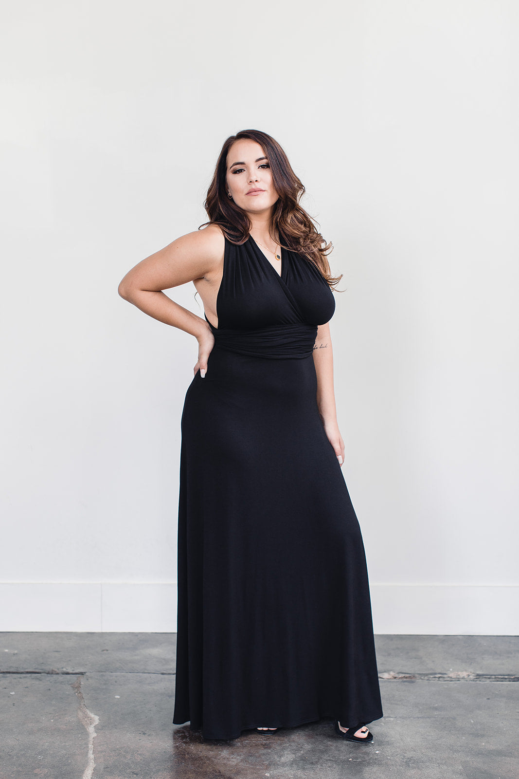 Black bamboo floor length dress