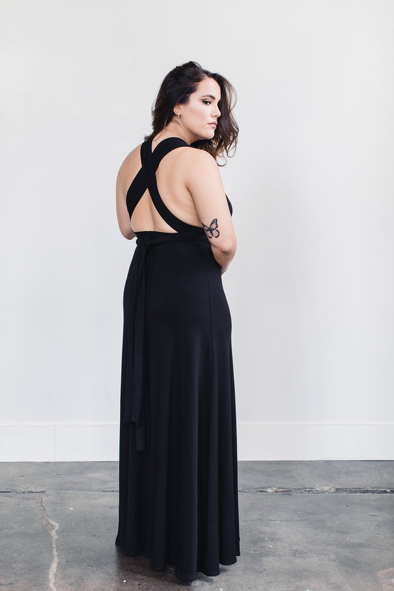 Sustainably made black evening gown