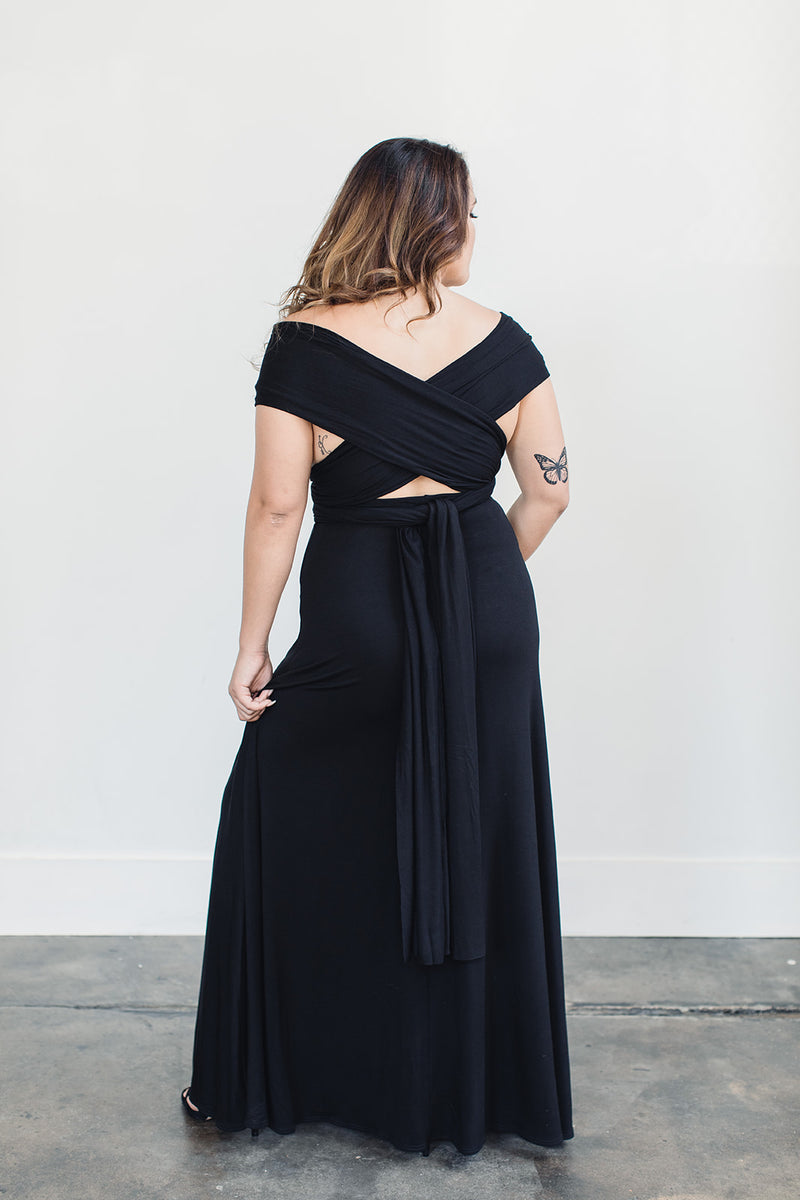 Sustainable black evening gown