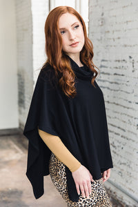 Ruth Poncho -- Black Terry Cloth