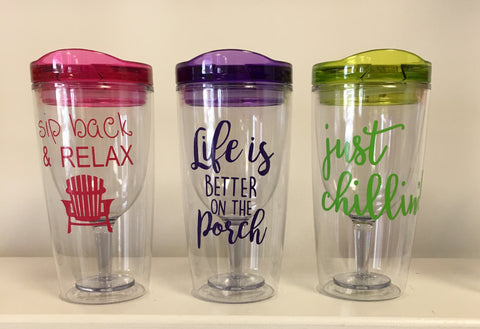 Plastic Decorated Wine Glasses