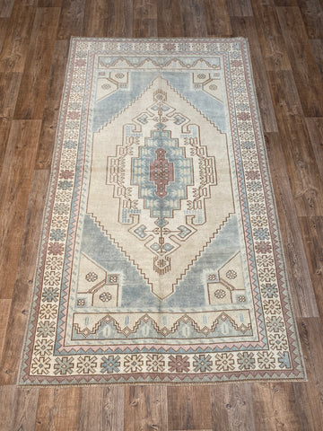 "5'7""x9'1"" Vintage Distressed Turkish Designed Zeki Muren Rug"