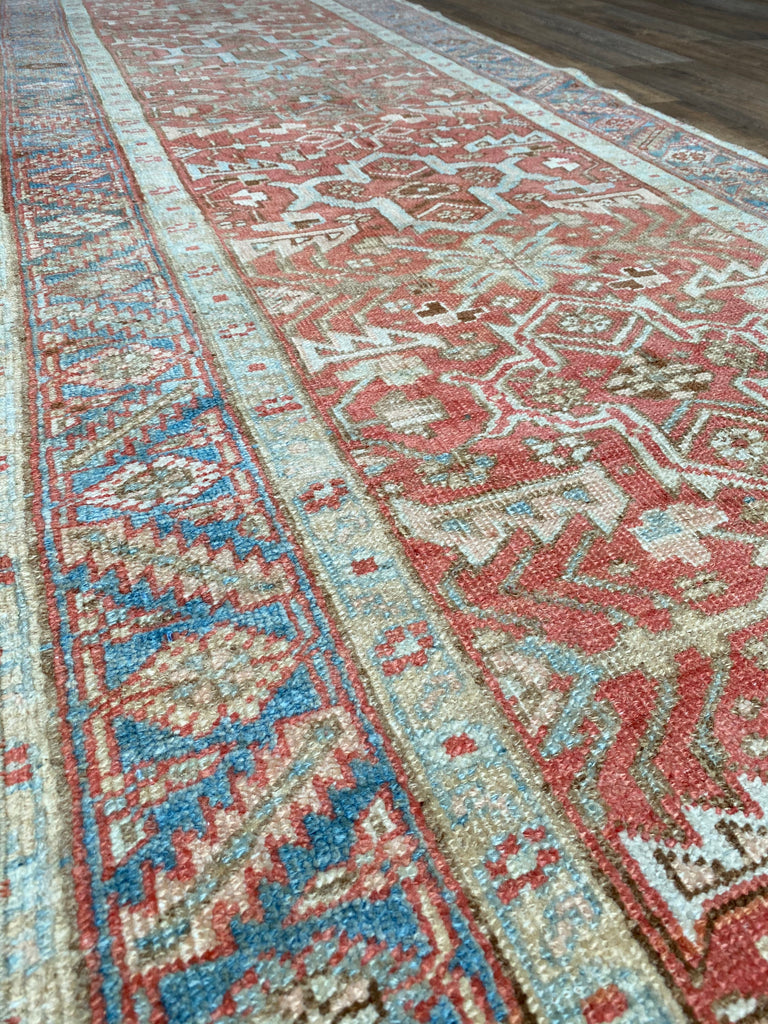 "3'1"" x 10'6"" Antique Heriz Runner"