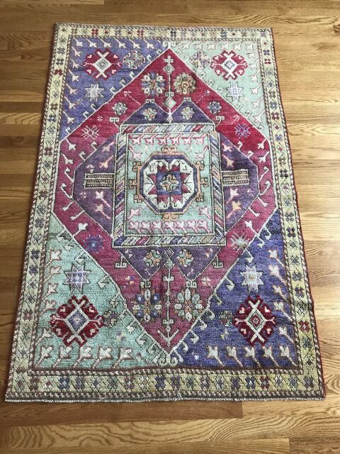 """Jonah"" 3'4""x5'2"" Royal Purple and Apple Green Vintage Turkish Oushak"