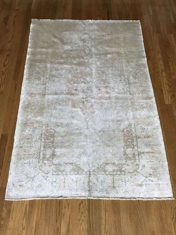 """Reno"" 4'4""x9'3"" Vintage Distressed Turkish Rug Designed by Zeki Muren"