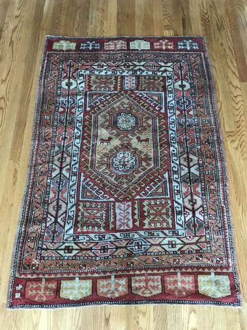 """Evelina"" 4'1""x8'1"" Vintage Turkish Oushak"