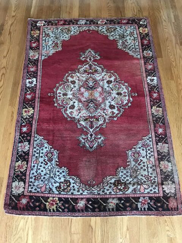 """Cherie Amour"" 4'2""x7'1"" Vintage Turkish Oushak"