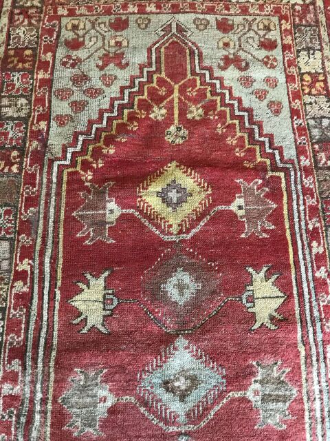 """Merdiven"" Turkish for ""Stairway"" 3'3""x4'11"" Gorgeous Vintage Oushak"