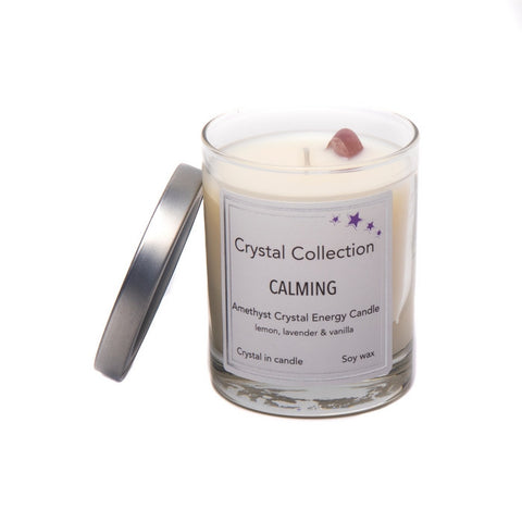 Amethyst Crystal - CALMING - Energy Candle - Baby 6.5 Ounce
