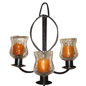 Wall Sconce for 3 Votive Candles - Pewter Finish