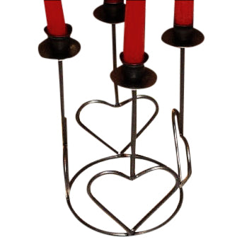 Heart Design Metal Holder for 4 Taper Candles