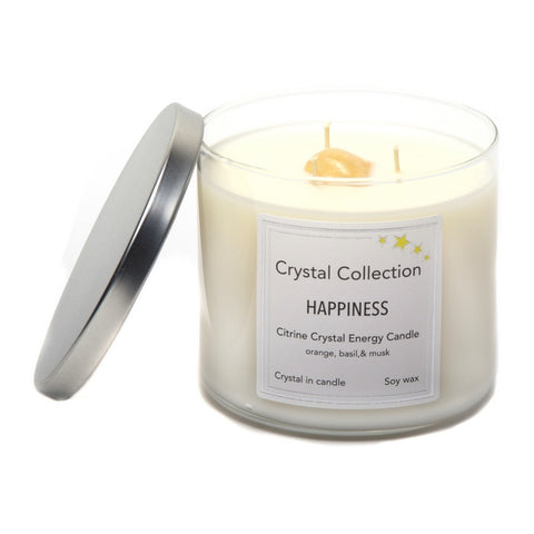 Citrine Crystal - HAPPINESS - Energy Candle - Jumbo 18 Ounce 3 Wick