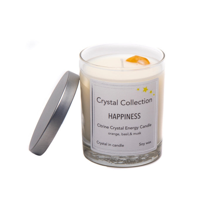 Citrine Crystal - HAPPINESS - Energy Candle - Baby 6.5 Ounce