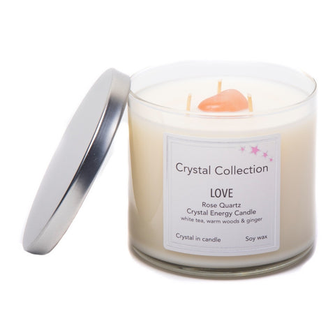 Rose Quartz Crystal - LOVE- Energy Candle - Jumbo 18 Ounce 3 wick