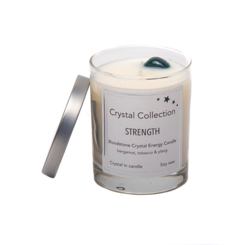 Bloodstone Crystal - STRENGTH - Energy Candle - Baby 6.5 Ounce