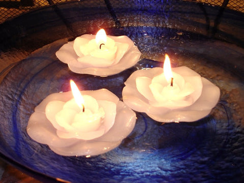 White Flower Floating Candle