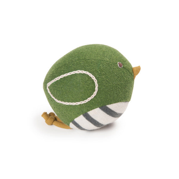 Organic Cotton Green Bird Rattle