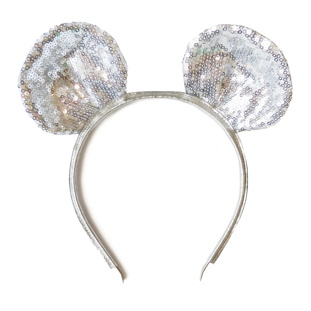 mouse ear - silver sparkly