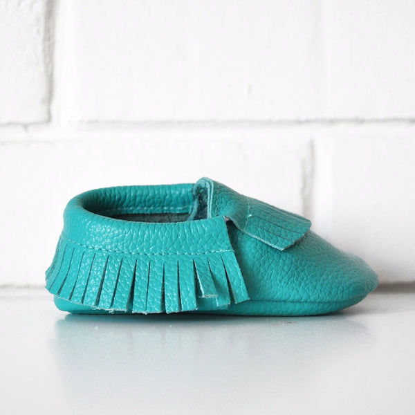 TURQUOISE LEATHER MOCCASINS