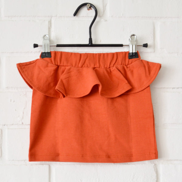 Orange Peplum Mini Skirt