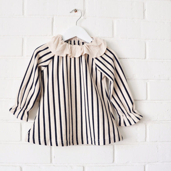 Striped Ruffle Collar Top