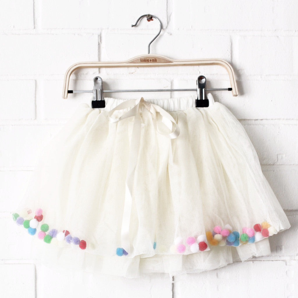 Tulle POM POM Skirt (OFF-WHITE)